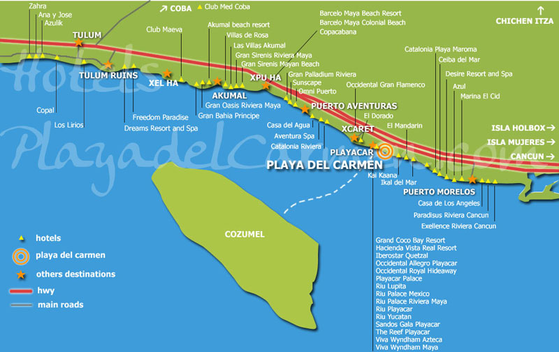 Map riviera maya hotels